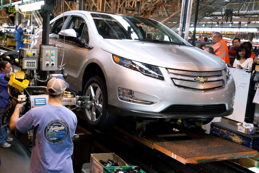 On the line with the Chevrolet Volt , Gm's Detroit-Hamtramck Plant.