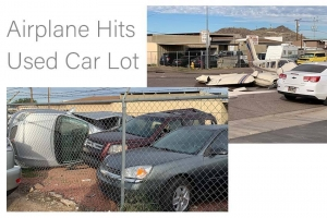 Airplane Hits Used Car Lot