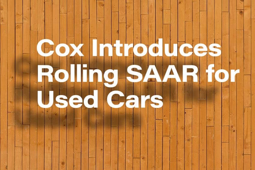 Cox Introduces Rolling SAAR for Used Cars