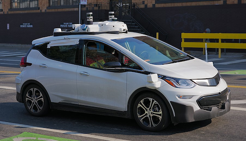 A Cruise Chevrolet Bolt undergoing testing in San Francisco.