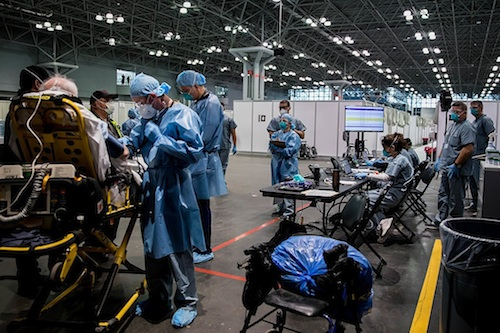 The Javits Convention Cente is being used as a  field hospital for COVID-19 cases.