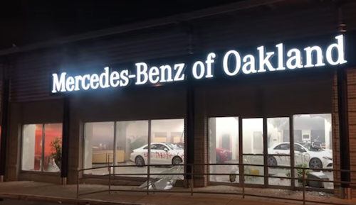 Mercedes of Oakland CA was damaged during looting on June 2nd.