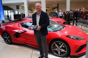 WINNER :  Tadge Juechter, Corvette chief engineer, accepts the NACTOY award for the 2020 Chevrolet Corvette Stingray in Detroit.