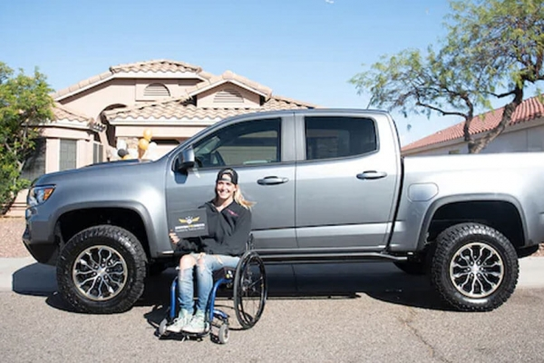 Retired Air Force Senior Airman Karah Behrend was awarded the Chevrolet Colorado ZR2